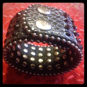 Jewelry - Black Leather & Crystal Snap Cuff Bracelet